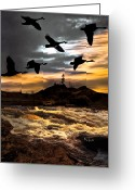 Geese Greeting Cards - Night Flight Greeting Card by Bob Orsillo