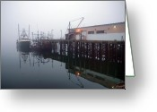 Portland Greeting Cards - Night Fog Along the Dock Greeting Card by Bob Orsillo