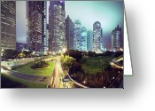 Long Street Photo Greeting Cards - Night Fog Over Shanghai Cityscape Greeting Card by Blackstation