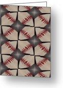 Baseball Mixed Media Greeting Cards - Night Game Greeting Card by Maria Watt