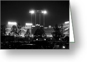 Baseball Game Greeting Cards - Night Game Greeting Card by Ricky Barnard