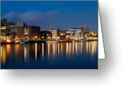 Aften Greeting Cards - Night Harbor Greeting Card by Gert Lavsen