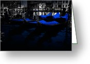 Venice Waterway Greeting Cards - Night in Venice Greeting Card by Eggers   Photography