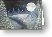 Snowy Night Greeting Cards - Night  Greeting Card by Irina Astley