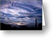 Cape May Nj Photo Greeting Cards - Night Light Greeting Card by Skip Willits