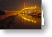 Florida Bridges Greeting Cards - Night Lights Greeting Card by Debra and Dave Vanderlaan