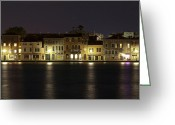 Venice Waterway Greeting Cards - Night Lights Greeting Card by Marion Galt