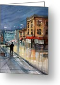 Impressionist Greeting Cards - Night Lights Greeting Card by Ryan Radke