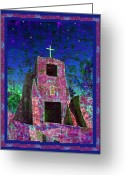 Santa Fe Digital Art Greeting Cards - Night Magic San Miguel Mission Greeting Card by Kurt Van Wagner