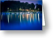 Denmark Greeting Cards - Night Marina Greeting Card by Gert Lavsen
