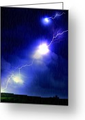 Thunderstorms Greeting Cards - Night Of Light Greeting Card by Emily Stauring