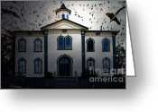 Potter School House Greeting Cards - Night of The Birds . 7D12487 Greeting Card by Wingsdomain Art and Photography