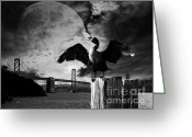 Oakland Bay Bridge Greeting Cards - Night of The Cormorant . Black and White Greeting Card by Wingsdomain Art and Photography