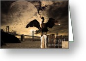 Oakland Bay Bridge Greeting Cards - Night Of The Cormorant Greeting Card by Wingsdomain Art and Photography