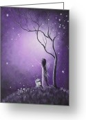 Surreal Art Painting Greeting Cards - Night Of The Fairies by Shawna Erback Greeting Card by Shawna Erback