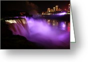 Color Purple Greeting Cards - Night on Niagara Greeting Card by Sean Cupp
