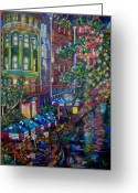 Umbrellas Greeting Cards - Night on the River Greeting Card by Patti Schermerhorn