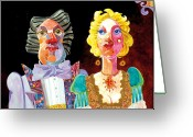 Stylized Art Greeting Cards - Night Out Greeting Card by Bob Coonts