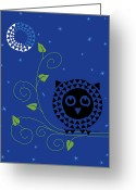 Stylized Art Greeting Cards - Night Owl Greeting Card by Ron Magnes