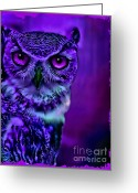 Fantasy Creatures Greeting Cards - Night Owl Greeting Card by Tisha McGee