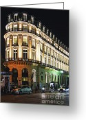 Europe Greeting Cards - Night Paris Greeting Card by Elena Elisseeva