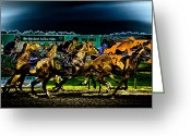 Horserace Greeting Cards - Night Racing Greeting Card by David Patterson
