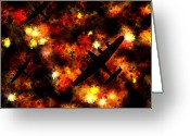 Fire Greeting Cards - Night Raid - Lancaster Bomber Greeting Card by Michael Tompsett