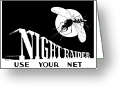 Mosquito Greeting Cards - Night Raider WW2 Malaria Poster Greeting Card by War Is Hell Store