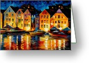 Featured Painting Greeting Cards - Night Resting Original Oil Painting  Greeting Card by Leonid Afremov