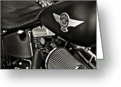 Harley Davidson Rally Greeting Cards - Night Rider-Black White Greeting Card by Lucky LaRue