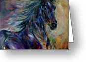 Equines Painting Greeting Cards - Night Rider Greeting Card by Diane Williams