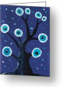 Tree Creature Greeting Cards - Night Sentry Greeting Card by Anastasiya Malakhova