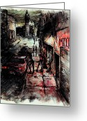 Streets Drawings Greeting Cards - Night Shift Greeting Card by Rachel Christine Nowicki