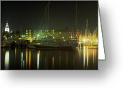 Scenic Framed Prints Prints Greeting Cards - Night Shot of Downtown Annapolis Greeting Card by Paul Pobiak