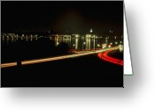 Scenic Framed Prints Prints Greeting Cards - Night Shot of U.S. Naval Academy and Downtown Annapolis Greeting Card by Paul Pobiak
