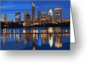 Live Music Greeting Cards - Night Skyline Color 16 Greeting Card by Scott Kelley