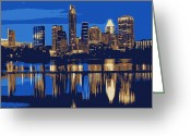 Live Music Greeting Cards - Night Skyline Color 6 Greeting Card by Scott Kelley