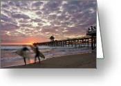 San Clemente Pier Greeting Cards - Night Surfing Greeting Card by Gary Zuercher