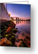 Florida Bridge Greeting Cards - Night Tide in the Palm Beaches Greeting Card by Debra and Dave Vanderlaan