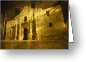 Alamo Greeting Cards - Night Time-exposed Zoom Gives Haunting Greeting Card by Stephen St. John