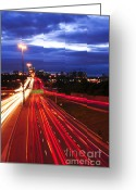 Nighttime Greeting Cards - Night traffic Greeting Card by Elena Elisseeva