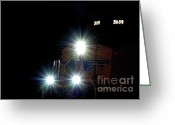 Blacks Greeting Cards - Night Train - Union Pacific Train Engine Greeting Card by Steven Milner