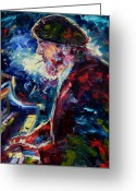Blues Greeting Cards - Night Tripper Greeting Card by Debra Hurd