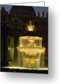 Vatican City Greeting Cards - Night View Of A Fountain Outside Saint Greeting Card by James L. Stanfield