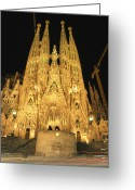 Scenes Greeting Cards - Night View Of Antoni Gaudis La Sagrada Greeting Card by Richard Nowitz