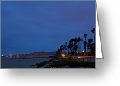 Ocean Front Greeting Cards - Night View of Beach Greeting Card by David Buffington