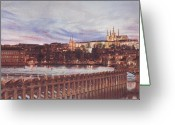 Prague Pastels Greeting Cards - Night View of Charles Bridge and Prague Castle Greeting Card by Gordana Dokic Segedin