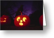 Stuffed Animals Greeting Cards - Night View Of Illuminated Greeting Card by Bill Curtsinger