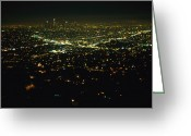 City Lights And Lighting Greeting Cards - Night View Of Los Angeles City Lights Greeting Card by Nadia M.B. Hughes