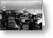 New York State Greeting Cards - Night View Of New York Greeting Card by Night view of New York City from Rockefeller Center